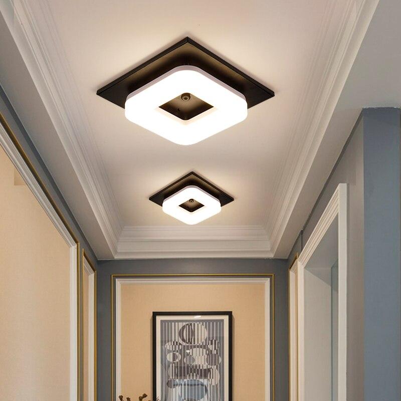 Minimalismo moderno preto quadrado ferro escurecimento lâmpada do teto do banheiro varanda corredor cozinha surfaced montado luz de teto