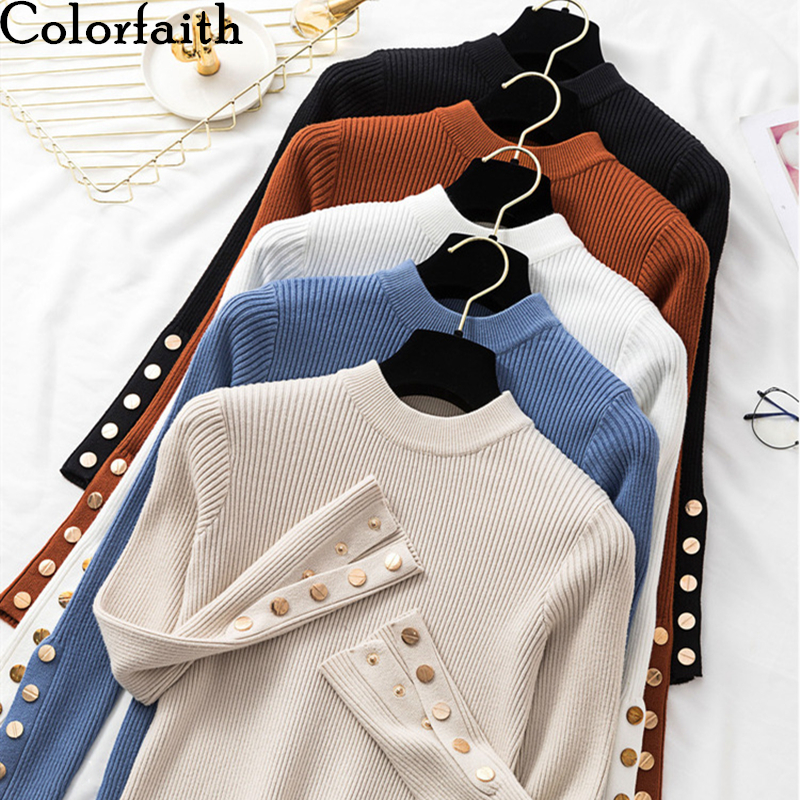 Colorfaith New 2019 Autumn Winter Women's Sweaters O-Neck Bottoming Button Knitting Tops Minimalist Korean Style Solid SW063