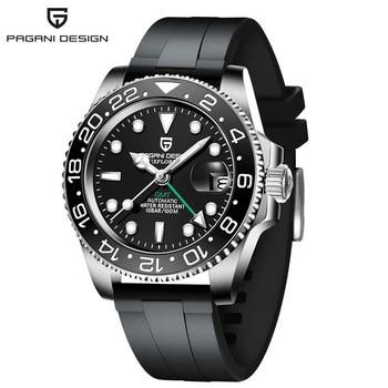 2020 New PAGANI DESIGN Luxury Men GMT Automatic Machinery Watch 40MM Ceramic bezel Jubilee Strap Sapphire 100M Waterproof Clock - Black-1