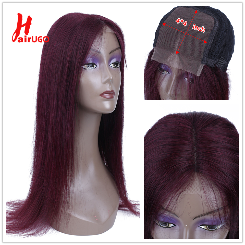 HairUGo 99J Ombre 4x4Lace Closure Human Hair Wigs With Baby Hair Pre Plucked Straight Remy Hair Brazilian Lace Wigs 150% Density