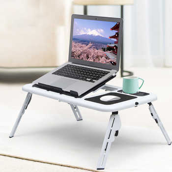 Multifunctional Laptop Table with Adjustable Desktop Angle Portable Foldable Breakfast Tray Table with Heat Dissipation Fan