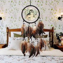 Wind-Chimes Ornament Crafts Circle-Ring Dreamcatcher Wall-Hanging Decor Luxury Wolf Hand-Woven
