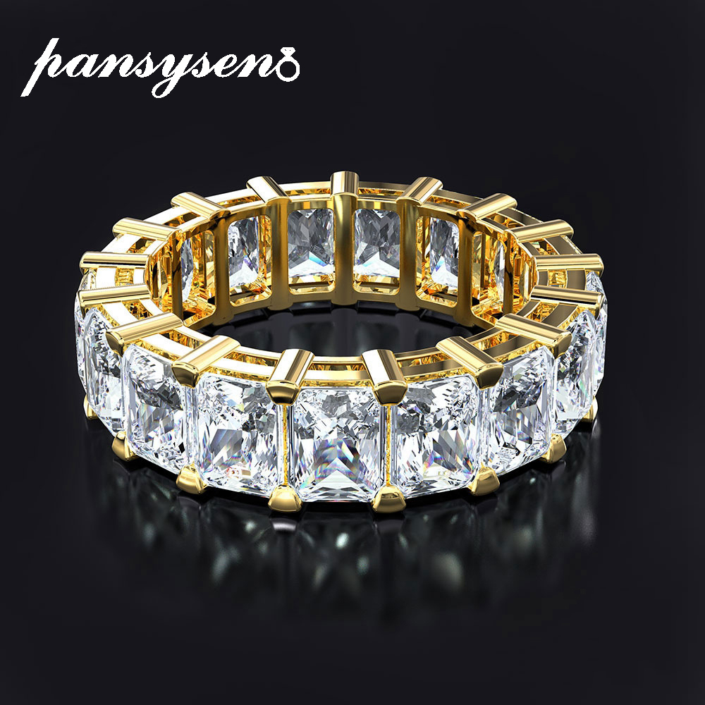 PANSYSEN Exquisite Gold Color Wedding Engagement Rings for Women Sterling 925 Silver Jewelry lab diamond Ring Fine Jewelry Gifts