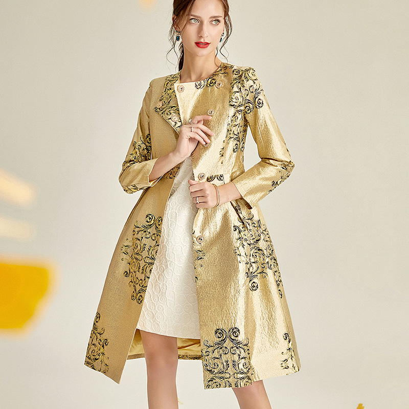 Spring Fall 2020 New Womens Female 5xl Slim Dobby Floral Golden Trench Coat , Korean Flower High Waisted Coats For Woman