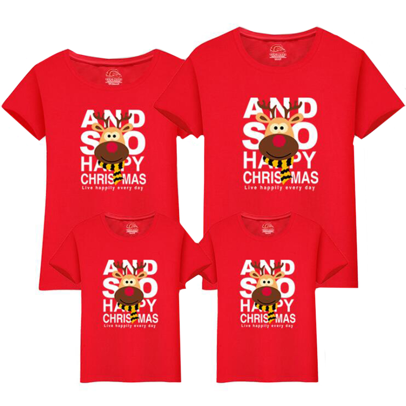 2019 Christmas Family Matching Outfits Mother And Daughter Clothes Mommy And Me Clothes Christmas Deer Cotton T-Shirt Cute Tops