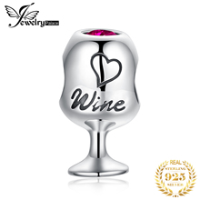JewelryPalace Fun Time Wine Glass Created Ruby Charms 925 Sterling Silver Beads For Women Hot Sale Beautiful Gifts Fine Jewelry