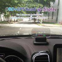 Universal Car HUD Head Up Display OBD2+GPS Dual Mode Head Display C1 HD Color LCD Display Kits 11V 18V DC