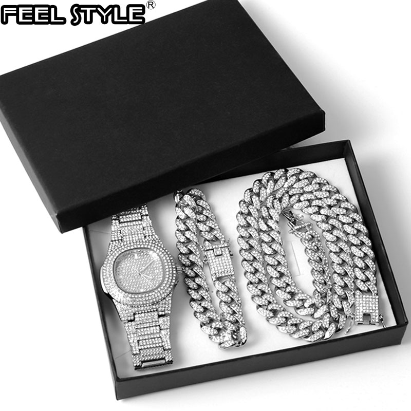 Silver Color Necklace +Watch+Bracelet Hip Hop Miami Curb Cuban Chain Full Iced Out Paved Rhinestones CZ Bling For Men Jewelry