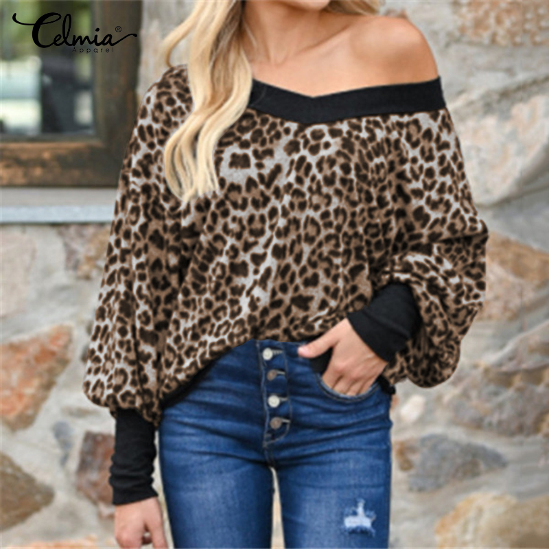Celmia Fashion Women Shirts <font><b>Sexy</b></font> Leopard Print Blouse Long Sleeve V-Neck Knitted Casual Tops Pull <font><b>Femme</b></font> Loose Vintage Blusas <font><b>5XL</b></font> image