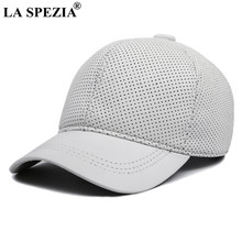 LA SPEZIA Real Leather Baseball Caps White Black Mens Hats and Caps Genuine Leather High Quality Winter Curved Brim Snapback Hat(China)