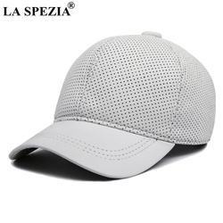 LA SPEZIA Real Leather Baseball Caps White Black Mens Hats and Caps Genuine Leather High Quality Winter Curved Brim Snapback Hat