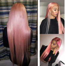 Perruque Lace Front Wig synthétique lisse et longue – Bella, perruque Lace Front Wig pour femmes, perruque Full Head Braid, rose, gris, perruque pour Cosplay