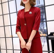 Suits Office Ladies Wear Work Formal Business 2 Piece Set Plus Size Elegant Designs Spring Autumn Blazer Tops Dress Women(China)