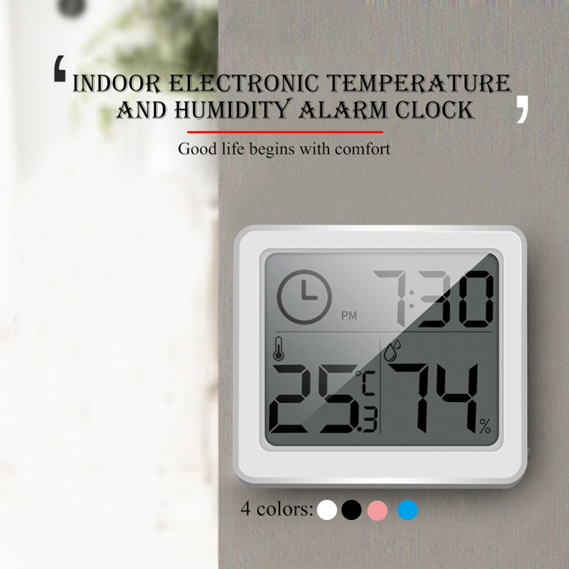 1PCS Thermometer Hygrometer Ultra-thin Multifunction Automatic Electronic Temperature Humidity Monitor Clock Large LCD Screen