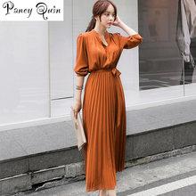 Vestidos plisados de mujer con una hilera de botones, elegantes, de otoño, de manga larga, ajustados a la cintura, informales, largos