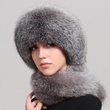 Outdoor Natural Real Fox Fur Women Winter Fox Fur Hat Scarf One Fur Earmuffs Women Winter Fur Hat