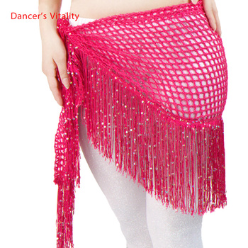 New Custom Made Hip Scarf Belly Dance Belt Triangles Skirt Sequins + tassels Multicolor Free Shipping - discount item  12% OFF Stage & Dance Wear