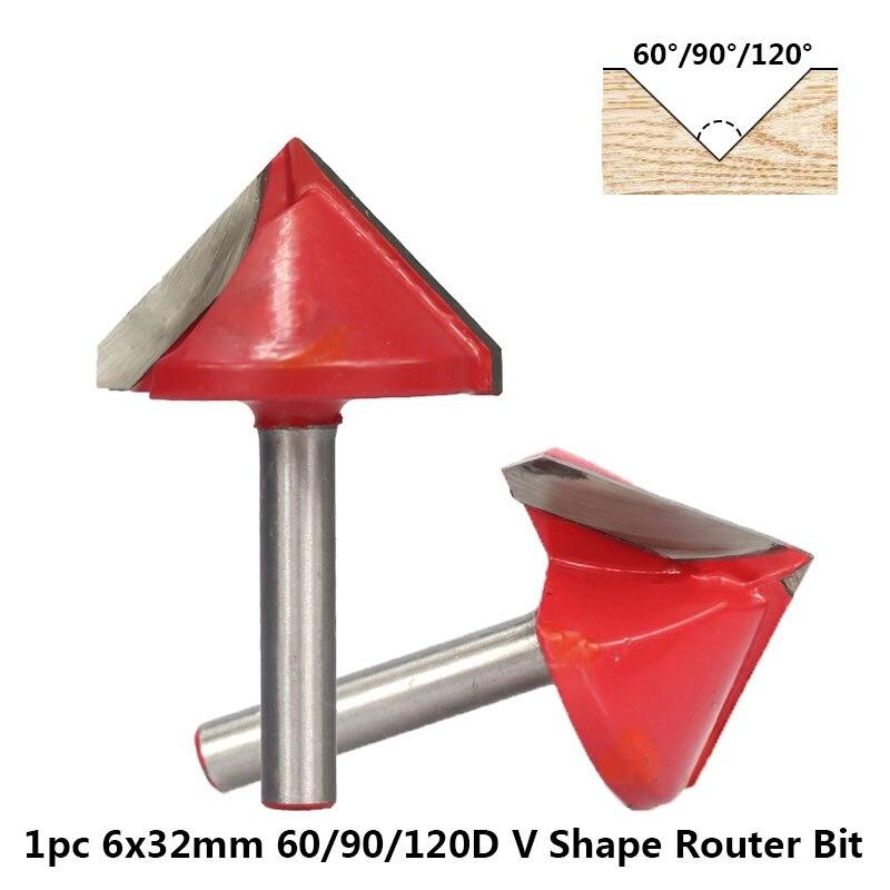 1pc 60/90/120 graus v forma gravura bit 6x32mm v groove madeira roteador bit carboneto de tungstênio fresa chanfro fresas