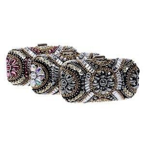 Image 3 - SEKUSA Vintage style femmes perlées sacs de soirée broderie petit jour embrayages mariage mariée sacs à main diamants case sac à main