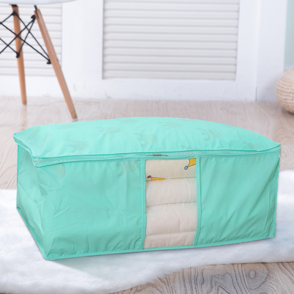 Non Woven Fabric Folding Storage Box Dirty Clothes Collecting Case With Zipper For Toys Quilt Storage Box Clear Window Organizer - Цвет: Green 58x40x22cm