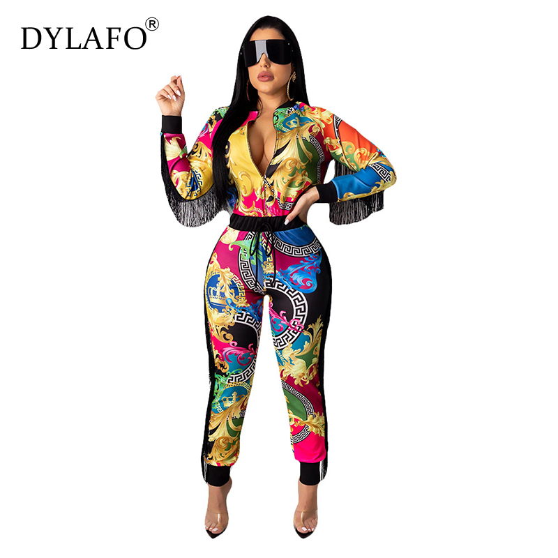 Women Casual Digital Print Jumpsuit Tassel Screw Thread Women Jumpsuits Suits Elegant O-neck Long Sleeve Bodycon Overalls
