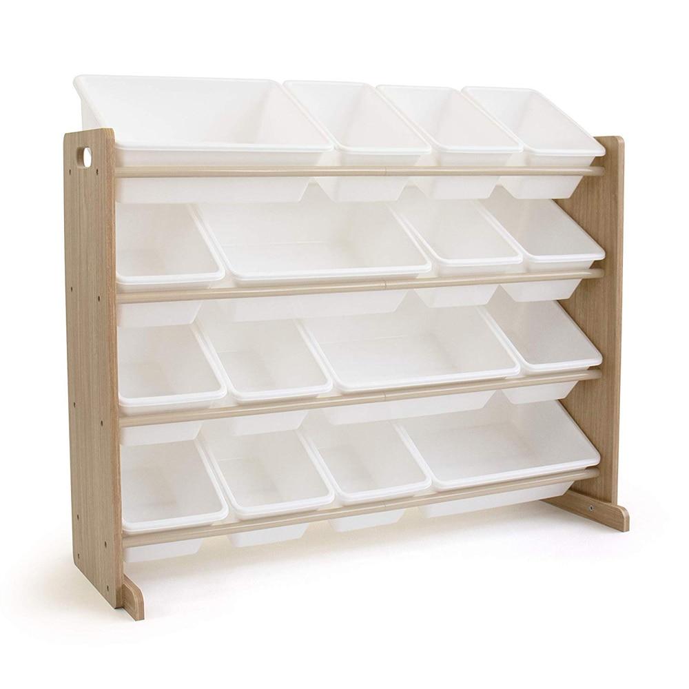 【US Warehouse】Wooden Kids' Toy Storage Organizer With 16 Plastic Bins,X-Large, Natural / White Toy Storage Organizer