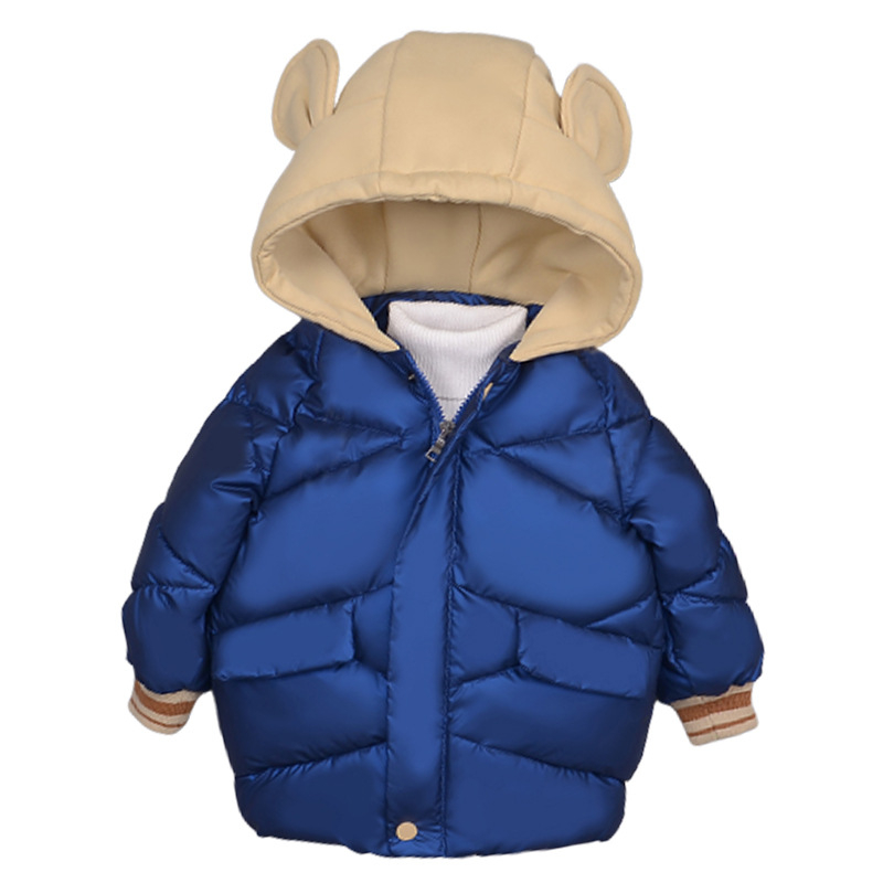 Kids Winter Jacket Baby Girls Solid Hoodie Bear Ears Cute Warm Jackets Girl Boy Cotton Coat with Hood Outwear Jacket