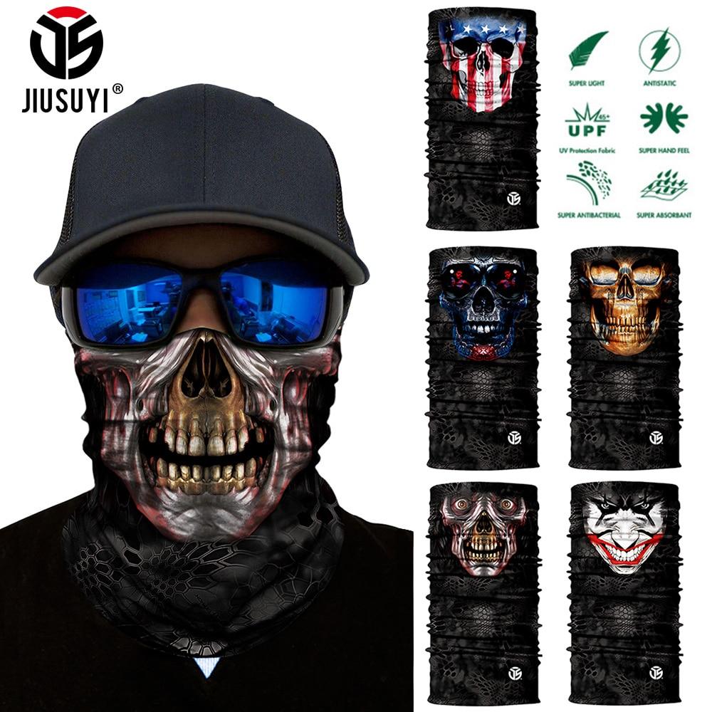 3D Seamless Magic Bandana Neck Gaiter Skull Ghost Joker Clown Tube Scarf Breathable Head Shield Half Face Cover Headband Anti-UV