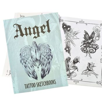 Tattoo Sketch Books Different Kinds of Angel Wings Flower Design for Tattoo Body Art A4 Size 112 Pages warrior angel wings cross temporary tattoo set of 1 crucifix body art mens womens