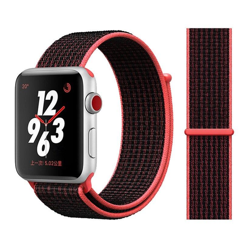 Спортивная петля ремешок apple watch band 42 мм 38 мм apple watch 4 3 band iwatch band 44 мм 40 мм correa pulseira 42 44 нейлоновый ремешок для часов - Цвет ремешка: black pink