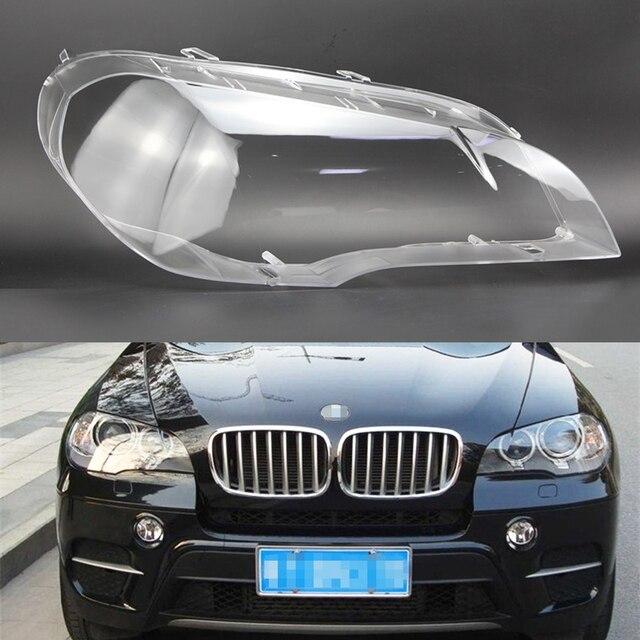 سيارة عدسة المصباح الأمامي لسيارات BMW X5 E70 2008 2009 2010 2011 2012 2013 سيارة العلوي كشافات عدسة السيارات قذيفة غطاء