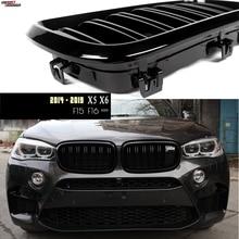 2 Slat ABS Gloss Black Racking Grill Kidney Grill for BMW F15 X5 (2014   2018) F16 X6 (2015   2019)