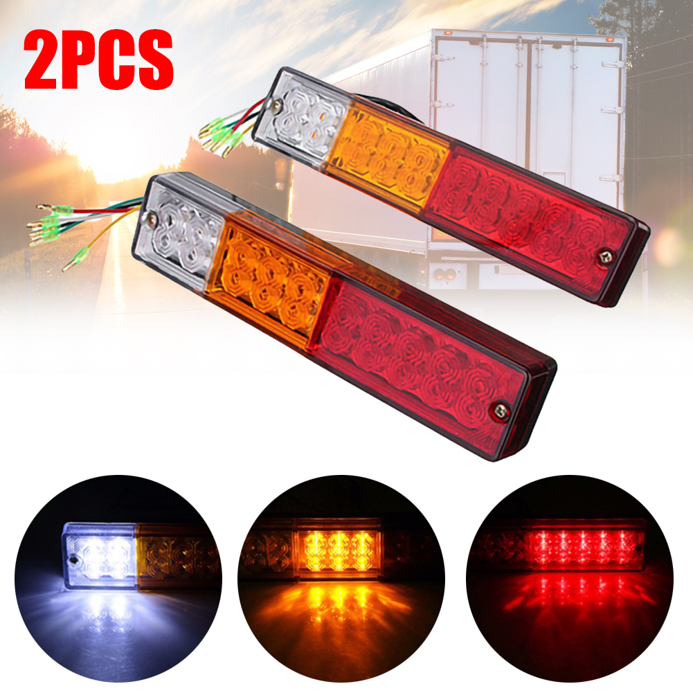 2PCS 12/24V 24 LED Car Rear Truck Trailer Tail Light Brake Stop Turn Signal Lamp Waterproof For Trucks Yachts ATV Trailers