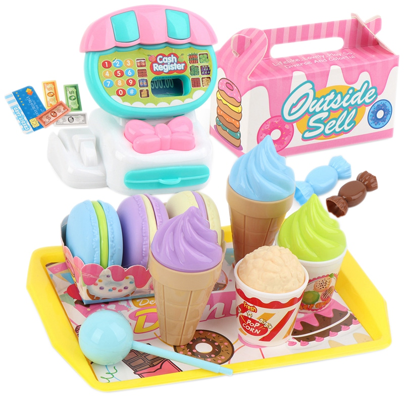 24PCS Dessert Fruit Shopping Cart Toys Mini Supermarket Cashier Toy Set