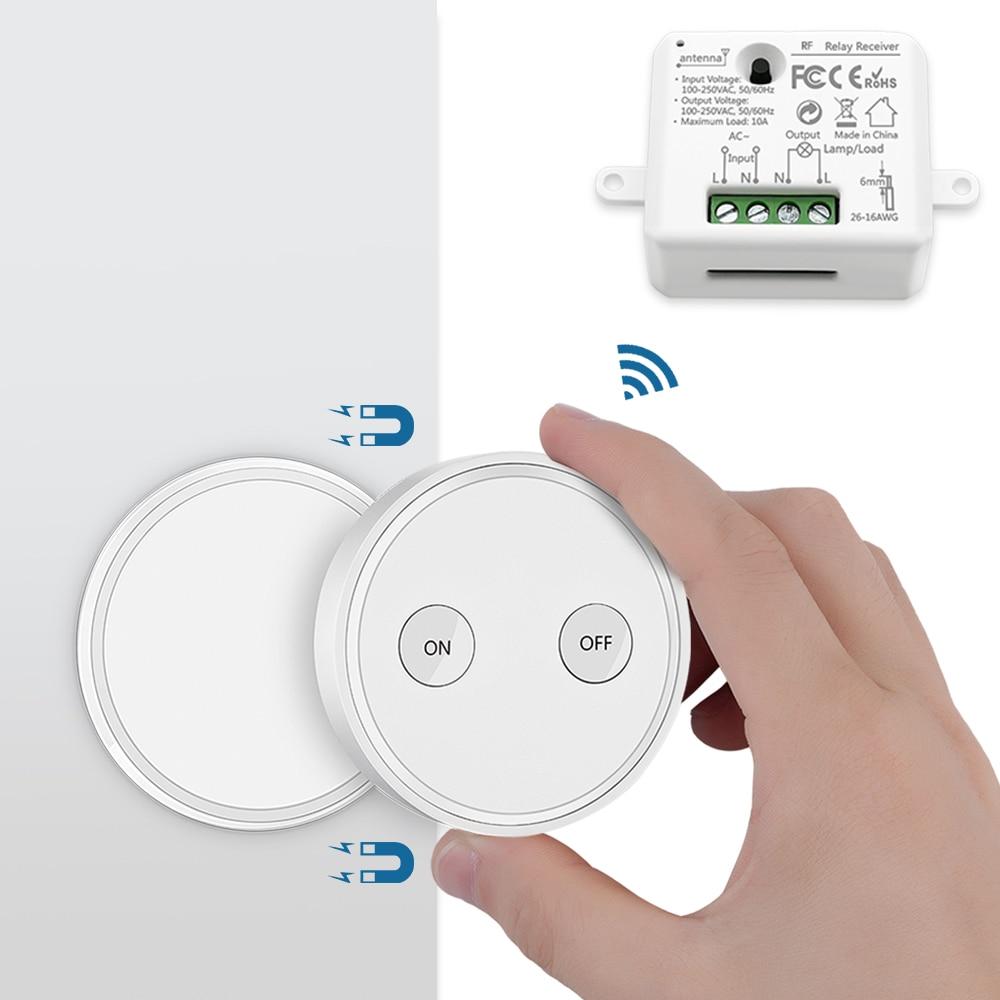 Fernbedienung Wireless Licht Schalter 220V mit Tiny Relais Modul Magnetische Wand Schalter oder Werden Tragbare 200m Palette einfach zu Installieren