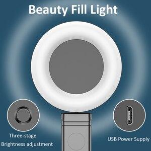 Image 5 - Vara sem fio de bluetooth selfie com tripé led anel luz extensível dobrável monopod handheld selfie vara para iphone samsung