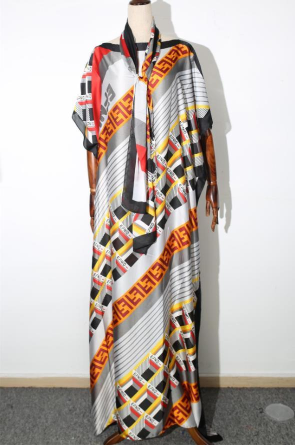 African Dashiki Dress Print Bohemia Silk Scarf Hijab Loose Elegant Muslim Abaya Bazin Robe Gowns Broder Riche Sexy Lady Party