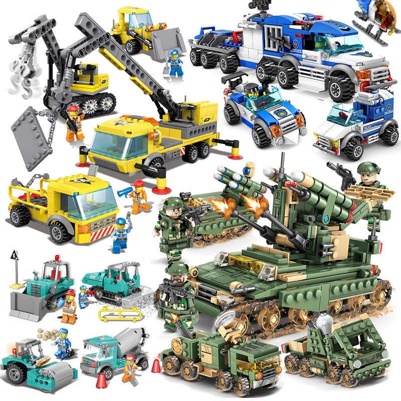482pcs 9 Models In 1 Boy Urban Engineering Large Trailer legoed DIY Model Building Blocks Kit Educational Puzzle Toys Gifts