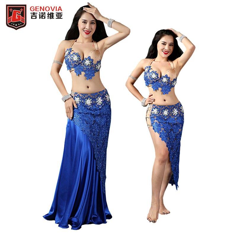 Женский набор костюма для танца живота, набор из 4 предметов: бюстгальтер + кружевная короткая юбка + длинная юбка + нижнее белье