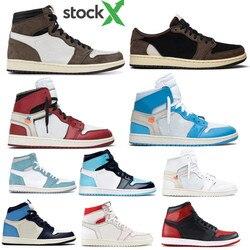 Neue Basketball Schuhe 1 1s OG Travis Scotts Schwarz Gericht Lila Royal Gezüchtet Kappe NC Obsidian UNC Designer Turnschuhe trainer
