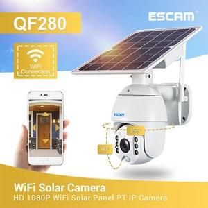 ESCAM-cámara de seguridad QF280 con Wifi, versión 1080p, Solar, vigilancia en exterior, impermeable, CCTV, Smart Home, Voz bidireccional