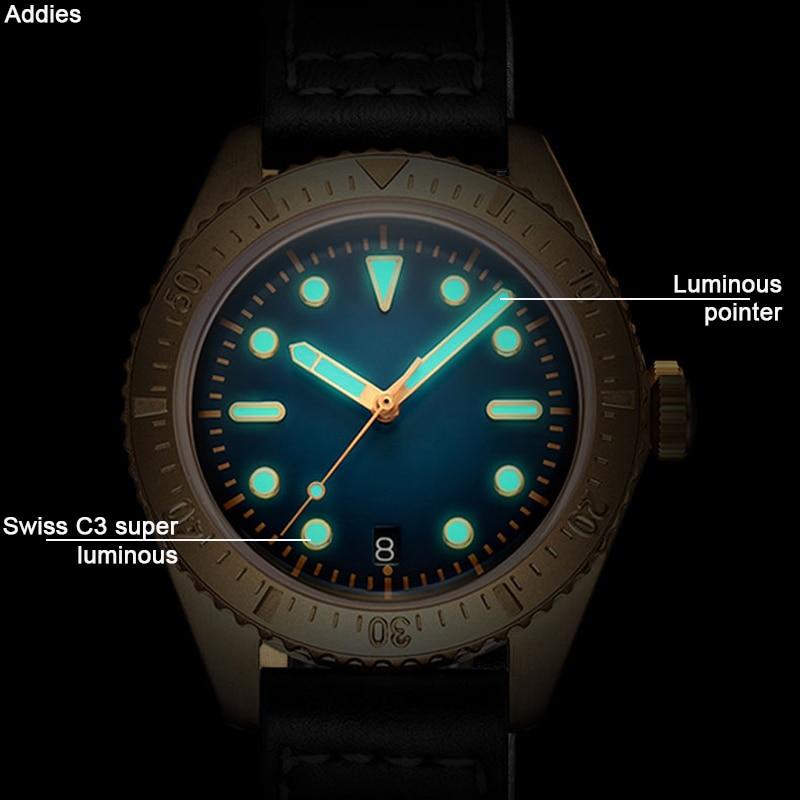 Image 4 - NH35A Movement Men Vintage Bronze Watch Automatic diving Watch 200m Water Resistant Bronze Bezel Retro Wristwatch Relojes HombreMechanical Watches   -