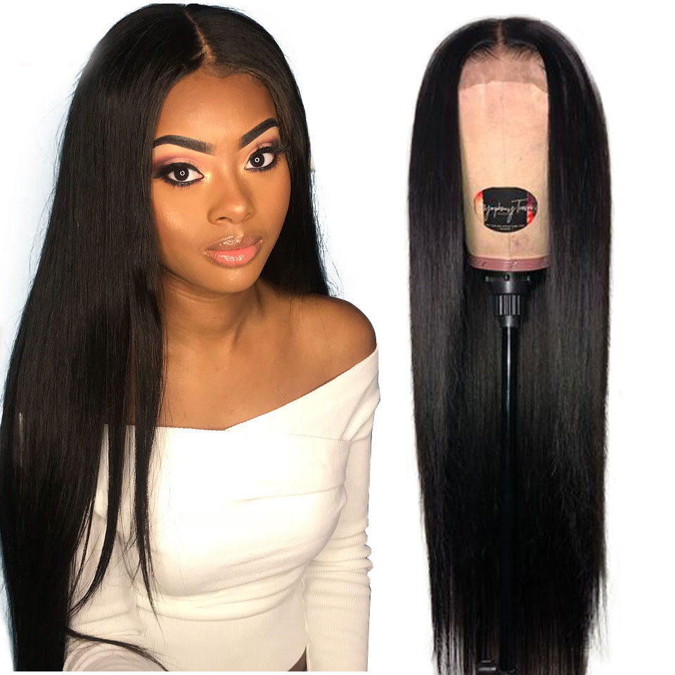 13x4 dentelle avant perruques de cheveux humains pré plumé non-remy partie libre brésilienne droite dentelle avant perruque avec des cheveux de bébé pour les femmes noires