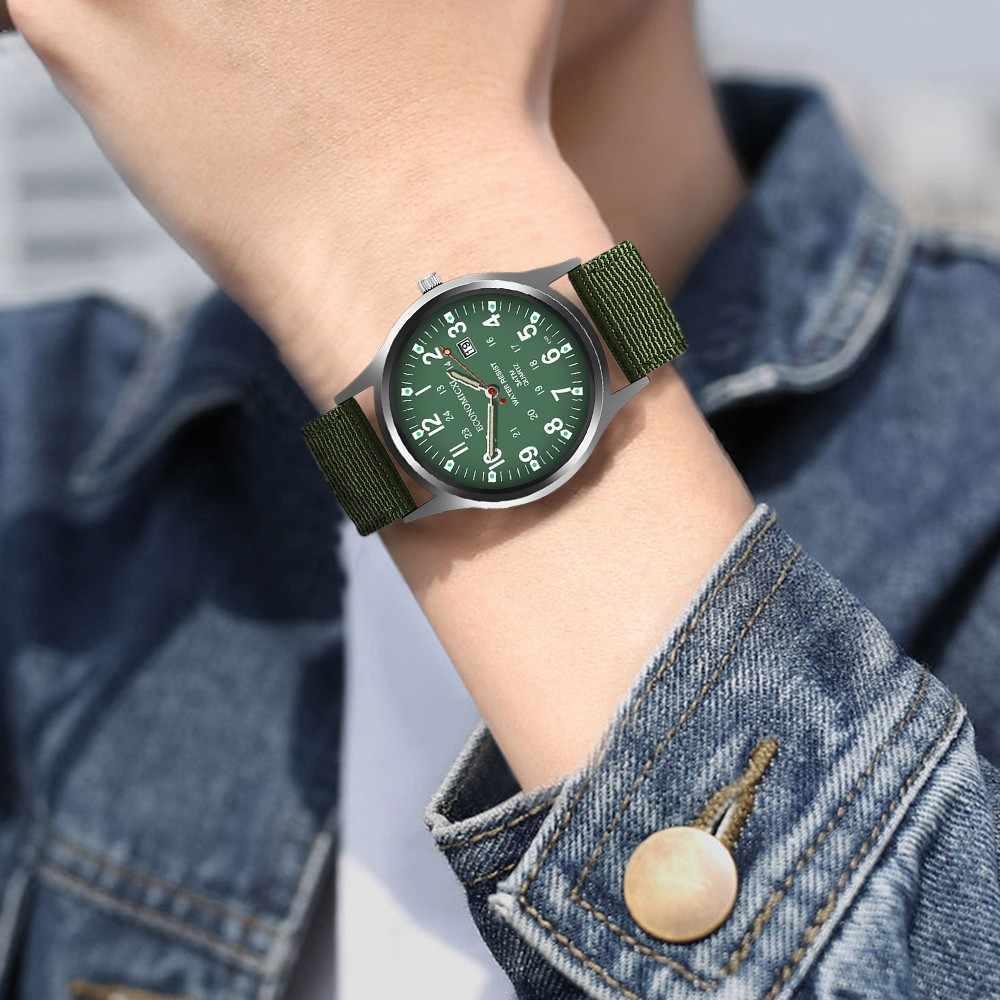 ผู้ชายนาฬิกาสายคล้องคอไนล่อนส่องสว่างควอตซ์นาฬิกา Wite วันที่ Analog ควอตซ์นาฬิกาข้อมือของขวัญนาฬิกาทหารกีฬานาฬิกา YE1