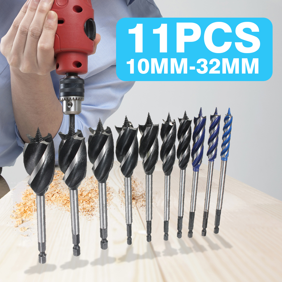 10mm-32mm Twist Drill Bit Set Wood Fast Cut Auger Carpenter Joiner Tool Drill Bit For Wood Cut Suit For Woodworking