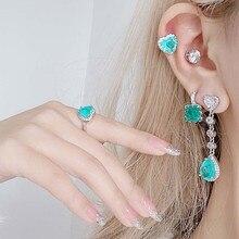 MENGJIQIAO – boucles d'oreilles en Zircon pour femmes et filles, bijoux en forme de cœur vert, joli cadeau, mode coréenne