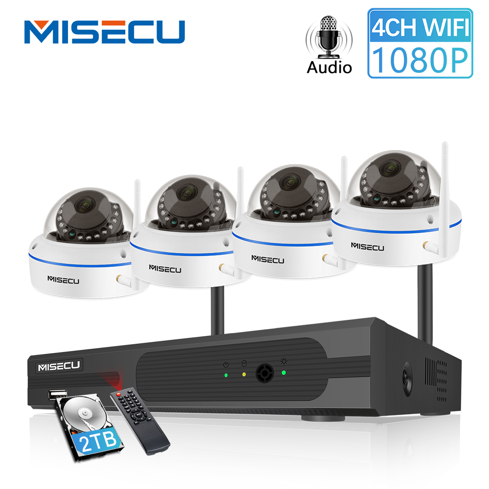 MISECU Plug And Play 4CH 1080P Wireless NVR Kit P2P 1080P 2MP Dome Camera Indoor Vandalproof Audio Record CCTV WIFI System 2TB