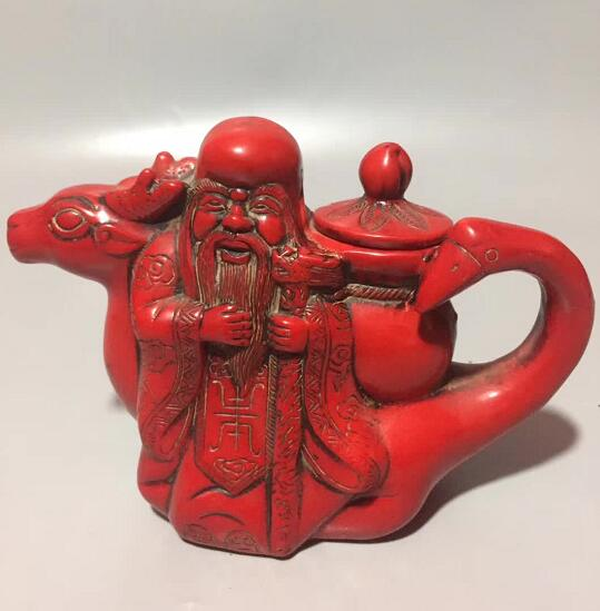 Chinese Handmade Red Coral Longevity Star Water Pot, Red-crowned Crane Teapot, Wine Pot, Buddhist Figure Home Decoration