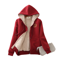 Sudadera con capucha gruesa de Cachemira de cordero para mujer, ropa deportiva holgada y cálida, chaqueta de terciopelo informal, abrigos, novedad de invierno 2021