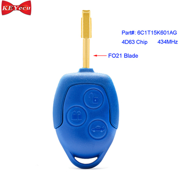 KEYECU voor Ford Transit WM VM 2006-2014 Afstandsbediening Sleutelhanger 3 Knop 433MHz 4D63 Chip P/ n: 6C1T15K601AG FO21
